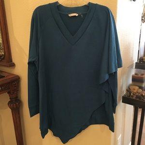 SOFT SURROUNDINGS Madison Teal Cape Sweater Tunic